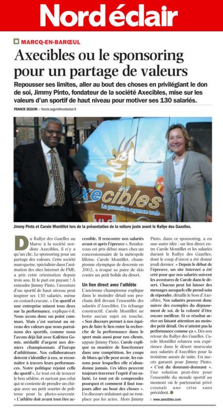 Axecibles ou le sponsoring pour un partage de valeurs-Nord Eclair (28/03/11)